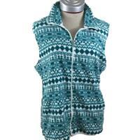 Laura Scott fleece vest Size XL white green 2 pockets full zip soft womens