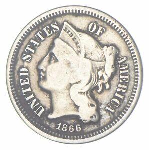 ***3***THREE***Cent*** - 1866 Three Cent Nickel Piece - Tough to Find *187