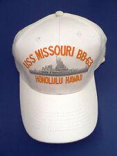 USS Missouri BB 63 Baseball Cap - White - Honolulu, Hawaii