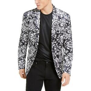 INC Mens B/W Velvet Printed Suit Separate Two-Button Blazer Jacket L BHFO 5274