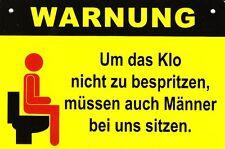 Spaß Schild Kunststoff + Motiv #5 + Klo - müssen auch Männer sitzen + Toilette +