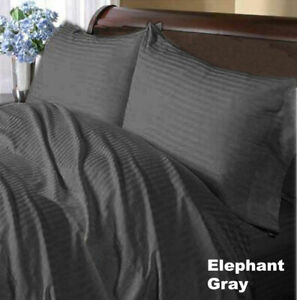 Cozy Bedding Collection Gray Striped 1000TC Egyptian Cotton All US Size