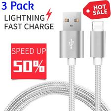 3 PACK Nylon Braided Lightning USB Data Cable Charger Cord for iPhone X 8 7 6