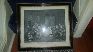 1745 William Hogarth Marriage-a-la-Mode IV Early Antique Caricature Engraving