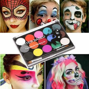 Professional Face Paint Kit Body Party Halloween Washable 15 Colour Palette UK