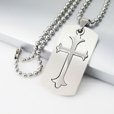 """Silver Stainless Steel Army Dog Tags Cross Pendant Mens Necklace 24"""" 61cm Chain"""