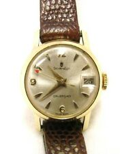 Sovereign Swiss Made Wrist Watch Ladies Calendar Brown Leather Band Vintage