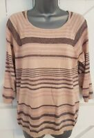 Jumper Top Size 12 COLD SHOULDER pink/peach/bronze METALLIC Ladies Women's VGC