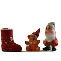 Lot of 3 Vintage Flocked Felt Christmas Ornaments Stocking Bear Elf