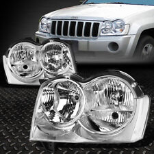 FOR 05-07 JEEP GRAND CHEROKEE CHROME HOUSING CLEAR CORNER HEADLIGHT/LAMPS SET