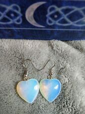 Opalite earrings heart crystal healing manifestation