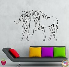 Wall Stickers Vinyl Decal Girl And Horse Modern Abstract Bedroom Decor (z1936)