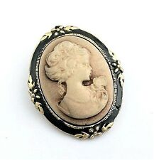 Cameo Brooch Pin Vintage Steampunk Antiqued Gold