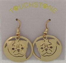 Pug Jewelry Gold Dangle Earrings