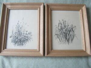 Pair of Oak-Framed Glazed Russian Flower Prints, purchased St Petersburg 1991