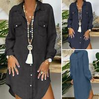 Women Long Sleeve Collared Denim Tops Blouse Irregular Hem Shirt Dress Plus Size