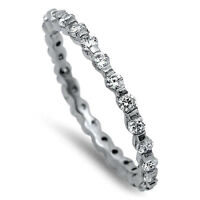 USA Seller Eternity CZ Ring Sterling Silver 925 Best Deal Jewelry Size 8