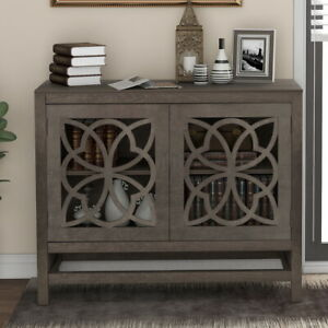 Wood Entryway Table Sideboard Storage Cabinet with Doors and Adjustable Shelf