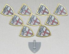 LEGO LOT OF 10 NEW SHIELDS TRIANGULAR RED ST. GEORGES CROSS PIECES PARTS