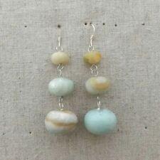 Natural Amazonite Gemstone Beads Silver Hook Erring