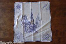 "vintage handkerchief 13"" x 14"" travel souvenir buildings church colonial horse"
