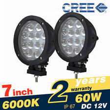 Pair 7 Inch 60W CREE LED Work Lights Spot Round Black for Truck Offroad Trailer