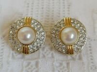 Chic Vintage Soleil Faux Pearl And Clear Crystal Clip On Gold Tone Earrings