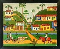 AMERICO MODANEZ Oil Painting On Canvas Brazilian Artist Naive Primitive Folk Art