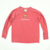 Comfort Colors Charleston SC Big Head T-Shirt YOUTH SMALL Faded Red Long Sleeve
