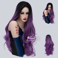70CM Lolita Ombre Black Mixed Purple Curly Hair Cosplay Wig Heat Resistant+Cap