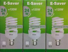3x E-Saver, Energy Saving CFL Light Bulbs, Spiral, 24w, Daylight, B22 Bayonet