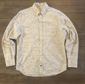 Taylor Stitch Shirt 42 Large Organic Cotton Wool Button Down Speckled Mens