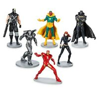 6p Disney Store AVENGERS Iron Man Black Widow Action Figures Mini Doll Play Set