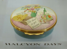 """Halcyon Days """"The Best Is Yet To Come"""" Enamel Box - >2""""(5.25cms)"""