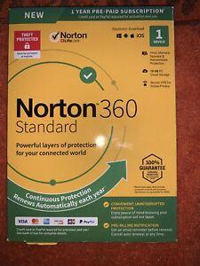 NEW Norton 360 Life Lock Antivirus Software 1 Device 1 Year Prepaid Subscription
