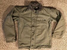 VINTAGE WWII US USN NAVY N1 GREEN DECK COAT JACKET S 36 CONTRACT NXSX 93427