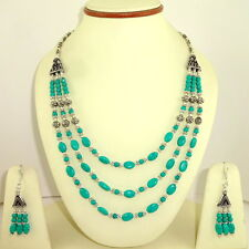 Necklace earrings natural Tibetan turquoise gemstone beaded handmade jewelry set