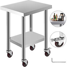 """Commercial 18""""x24""""Stainles s Steel Work Prep Table With 4 Wheels Kitchen"""