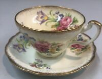 Vintage Foley Tulip Cup & Saucer White Ivory Pink Floral Gold Trim