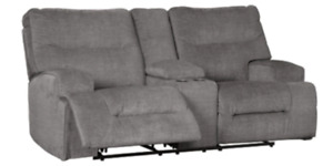 New Coombs Charcoal Double Recliner Loveseat w/ Console 4530294