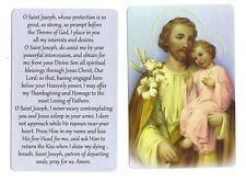 Prayer to Saint St Joseph w/ child  (Lot of 2) Laminated catholic prayer cards