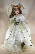"""Anastasia Collection Gwyneth Porcelain Doll 17"""" Brown Hair Green Eyes With Stand"""