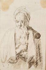 Original 17th.Century Dutch Flemish Old Master Drawing Bearded Man 1700s