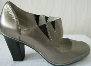 CLARKS GOLD LEATHER ARCH SUPPORT SHOCK ABSORP MARY JANE SHOES-UK 5D
