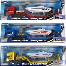 Teama Diecast Power Boat Transporter Model Toy - Free Wheel - (Bt256Any)