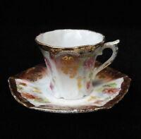 Vintage MINIATURE Victorian Porcelain CUP & SAUCER Floral w/ Copper Luster Trim