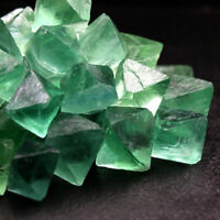5pcs Natural Green Fluorite Octahedron Quartz Crystal Healing Stone Point Reiki