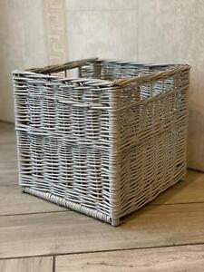 Large Grey Square Willow Wicker Rattan Storage Basket Drawer Storage Handmade