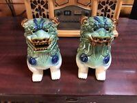 "VINTAGE PAIR VINTAGE FOO DOGS GREEN & BLUE GLAZED CERAMIC 8 1/2"""