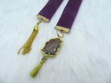 Bookmark Luxury Velvet - Mulberry with Iridescent Charm & Tassel - Perfect Gift